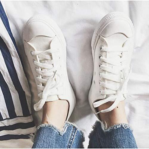 ZHZNVX Zapatos cómodos de Mujer Zapatos Deportivos de Lona de Primavera y Verano Talón Plano Blanco/Negro / Amarillo White