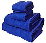 Trident Soft and Light 100% Combed Cotton 400 GSM 4-Pieces (Bath & Hand) Towel Gift Set, Midnight Blue