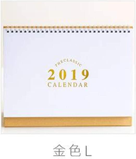 Grea 1 pcs 2019 Lindo Calendario de Dorado Simple Calendario de ...