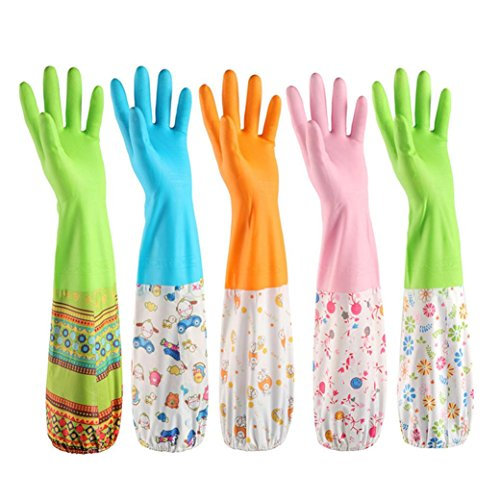 Nacome Dishwashing Gloves,Long Rubber Warm Gloves for Fruit and Vegetable Dishes Wash,Kitchen Hand Gloves (D)