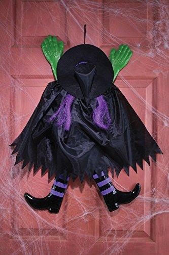 Fun World Funny Backwards Witch Purple Hanging Halloween (Fun Easy Halloween Decorations)