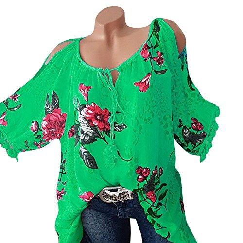 Bow Floral Large Ships (Floral Print Shirt Women Plus Size Blouse O Neck T Shirt Bandage Strapless Top SanCanSn Fashion Blouse Pullover (Green,5XL))