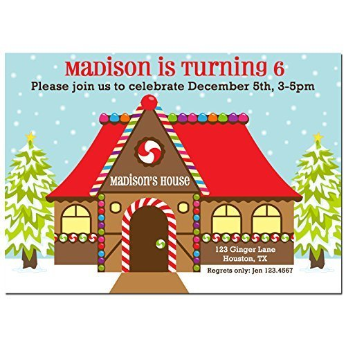 House Party Gingerbread Invitations (Christmas Gingerbread House Party Invitations with ANY Wording Printed or Printable - Gingerbread house, holiday, Birthday Party Invitation)