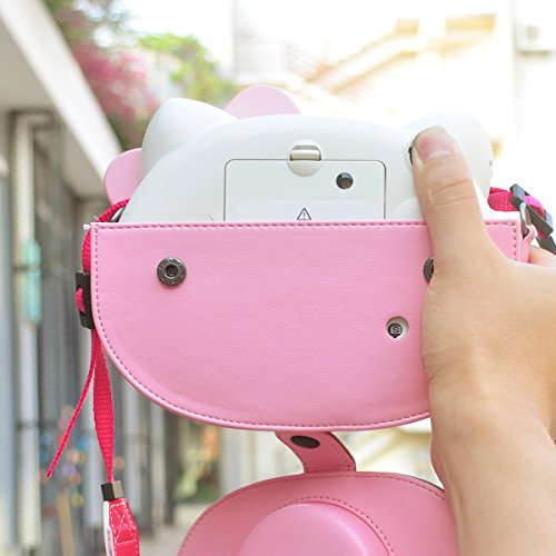 HelloHelio Mini Hello Kitty Instant Camera Case for Fujifilm Instax Cameras, [Exact-Fit] Pink Kitty Bowknot Bag for INS Mini KIT CHEKI Camera ...
