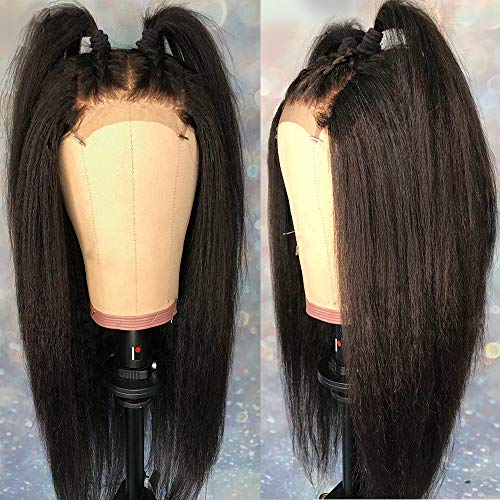 Andria Hair Lace Front Wigs Yaki Straight Hair Wigs Synthetic Heat Resistant Long Hair Wigs with Baby Hair for Black Women (Black Color Yaki Hair 18