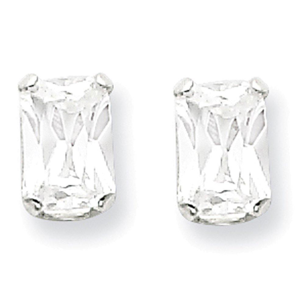 Lex /& Lu Sterling Silver 6x4 Emerald Stud Earrings