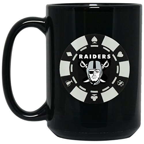 Las Vegas Raiders Coffee Mug Oakland Raiders Coffee Mug Player Chip 15 oz Ceramic Cup Great for Tea and Hot Chocolate NFL AFC Football Great Gift for any Raider Fan