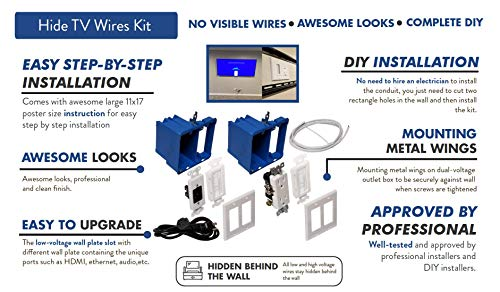 Hide TV Wires Kit in-Wall Power and Cable Management Kit (Fast Shipment)