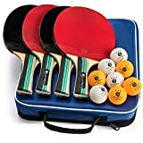 Scandi Spin Ping Pong Paddle Set of 4 Paddles and 8 Balls, Includes Carry Case - Table Tennis Rackets and Balls | Both Outdoor and Indoor Play | 4-Player Bundle | Perfect for Kids and Adults