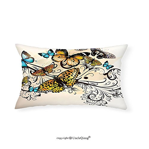 VROSELV Custom pillowcases Butterfly Decor Monarch Butterflies Vintage and Damask Ombre Background Floral Pattern Art for Bedroom Living Room Dorm Cream Orange and Blue(16