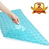 Non Slip Bath Mat Becozier Mildew Resistant Pebbles Shower Mat with Anti Slip Suction Cups, Antibacterial Machine Washable Bathtub Mat,16x35 Inch, Green