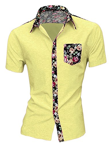 uxcell Men Short Sleeve Point Collar Single Breasted Shirts Medium Light Yellow