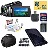 Sony HDR-PJ210 Digital HD Camcorder with Ultimate Accessory Kit - Includes 32GB High-Speed SDHC Memory Card + Card Reader + Replacment Sony FV100 4200mAh Battery Pack + Deluxe Padded Carrying Case + Solar Battery Charger / Backup + Lens Cleaning Kit inclu