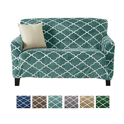 Great Bay Home Modern Velvet Plush Love Seat Slipcover. Strapless One Piece Stretch Loveseat Cover. Love Seat Cover for Living Room. Magnolia Collection Slipcover. (Love Seat, Aqua) (Buy Cheap Sofa)