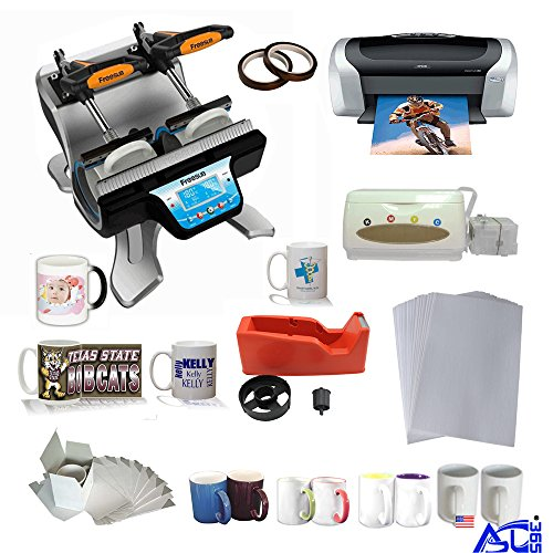 Double Station Mug Heat Press Machine with Epson C88 Printer CISS Two-Tone Sublimation Mug Startup Kit by Sublimation Packages