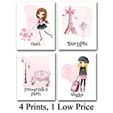 Lone Star Art Pink Paris - Set of Four Photos (8x10) Unframed - Great Gift for Girl's Room or Nursery Decor