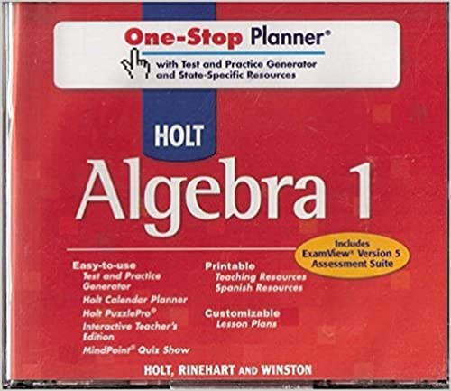 Amazon Holt Algebra 1 OneStop Planner wTest Practice – Holt Algebra 1 Worksheets