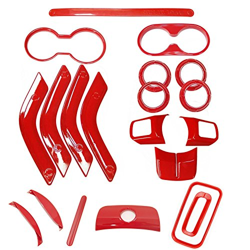 Bentolin 20Pcs Red Full Set Interior Decoration Trim Kit for Jeep Wrangler 2011-2017 4 Door Air Outlet & Door Inner Handle & Handbrake Trim & Cup Holder & Gear Shift Knobs Cover Trim