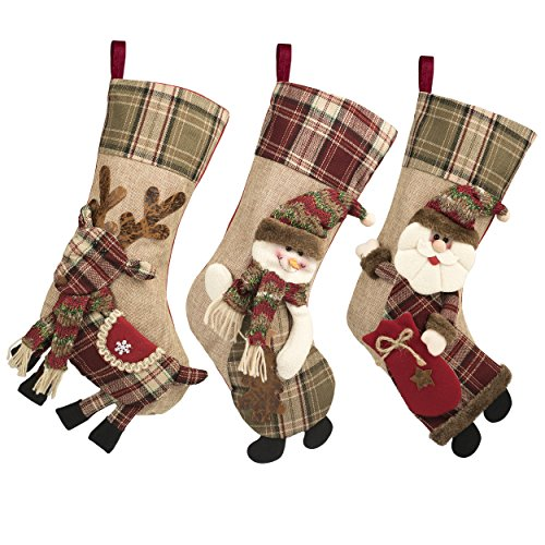 """3 Pcs 18"""" Christmas Stockings Large Size with 3D Santa/Snowman/Reindeer, Xmas Stocking For Gifts Stuffers & Christmas Party - Stocking Xmas Santa"""