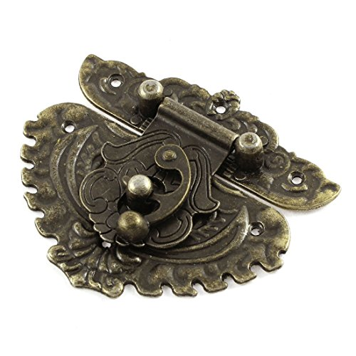 - Uxcell a15060800ux0260 81mmx74.5 mm Vintage Style Box Suitcase Lock Hook Latch Bronze Tone