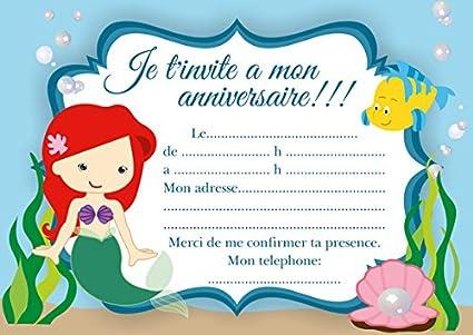 10 Tarjetas Invitación Cumpleaños Ariel La Sirenita Color