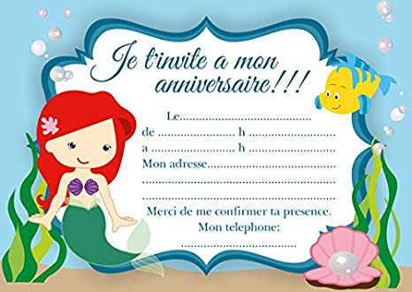 10 Cartes Invitation Anniversaire Ariel La Petite Sirene Amazon Fr