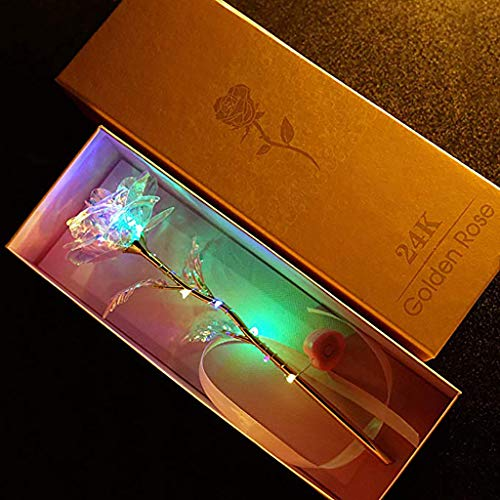 DIRANCE @ Colorful Luminous LED Gold foil Roses, Color Change Artificial LED Flower, Gift Box Packaging (A)