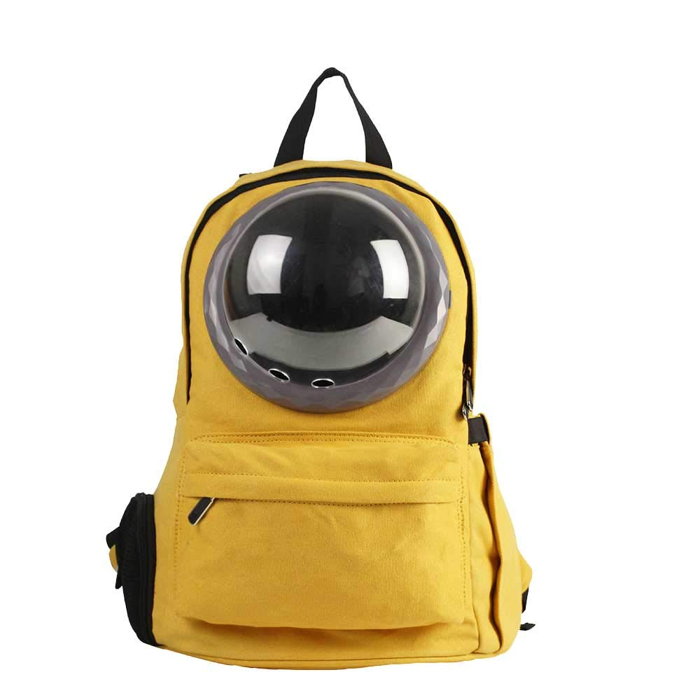 Dog Backpack Yellow Breathable Canvas Material Travel Hiking Camping Cat and Dog Backpack