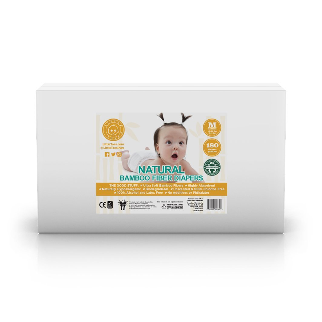 Little Toes Disposable Biodegradable Bamboo Diapers Monthly Value Pack (Medium, 180 Count) | Super Absorbent Natural Diapers for Babies 13-24 lbs| Hypoallergenic, Eco-Friendly, Soft & No Leaks (New)