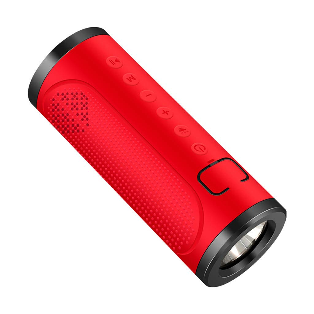 CZYCO Two in One Portable Wireless Bluetooth Speakers Noise Reduction Stereo Sound Waterproof Speakers With Flashlight(Red) by CZYCO