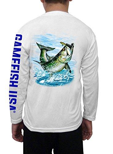 Microfiber Kids Shirt - GAMEFISH USA Kid's UPF 50 Long Sleeve Microfiber Moisture Wicking Performance Fishing Shirt Tarpon X-Small White