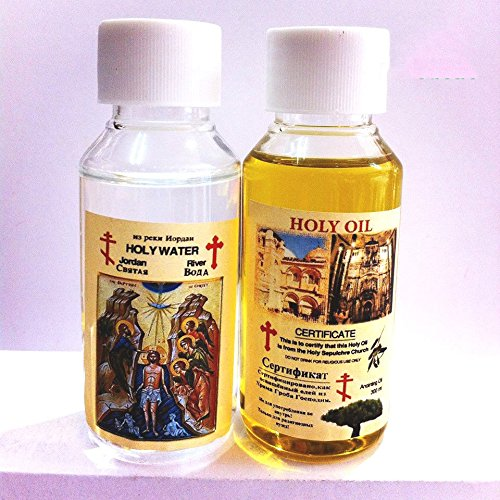 Set Of 2 Blessed Bottles From Jerusalem, Anointing Oil, Jordan River Water Lots