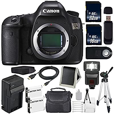 Canon EOS 5DS DSLR Camera (International Model No Warranty) 0581C002 + LP-E6 Battery + External Rapid Charger + 32GB Card + 16GB Card Bundle