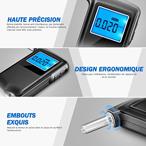 OMORC Éthylotest Numérique avec 6 Modes d'unités, Alcootest avec Écran LCD Haute Précision à la Fonction d'Enregistrement de Résultat de Test (5 Embouts inclus) low-cost