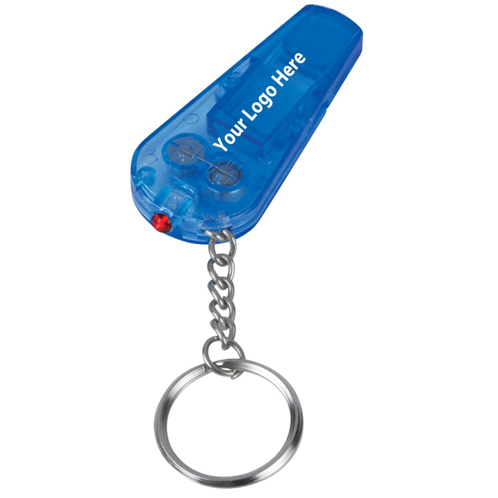 "Safety Whistle Light Key Chain - 150 Quantity - $0.75 Each - PROMOTIONAL PRODUCT / BULK / BRANDED with YOUR LOGO / CUSTOMIZED. Size: 2-1/2""w X 1-1/4""h."