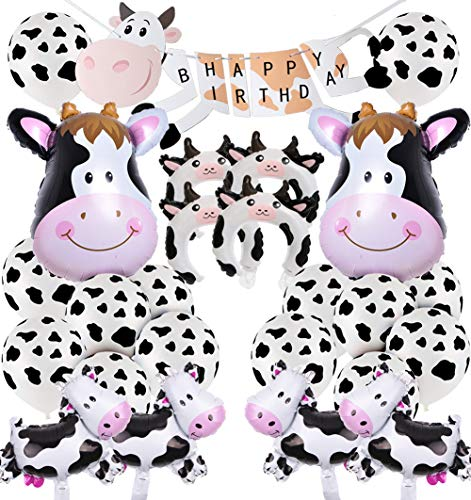JOYMEMO Cow Party Decorations Farm Animal Theme Party Supplies, Happy Birthday Banner, Cow Foil Balloons, Mylar Balloons Decor Set