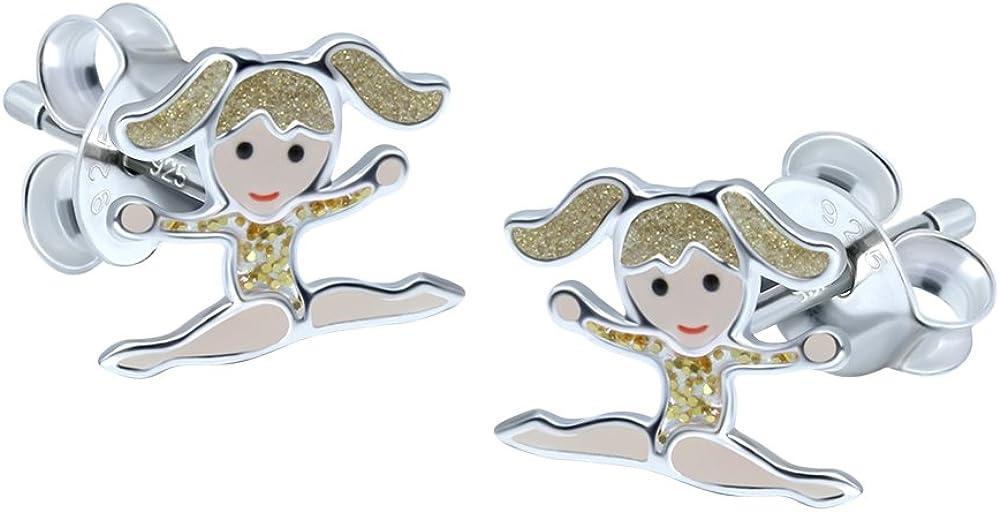 Plata de Ley–niña–Pendientes de gimnasia maillot de pelo rubio con oro