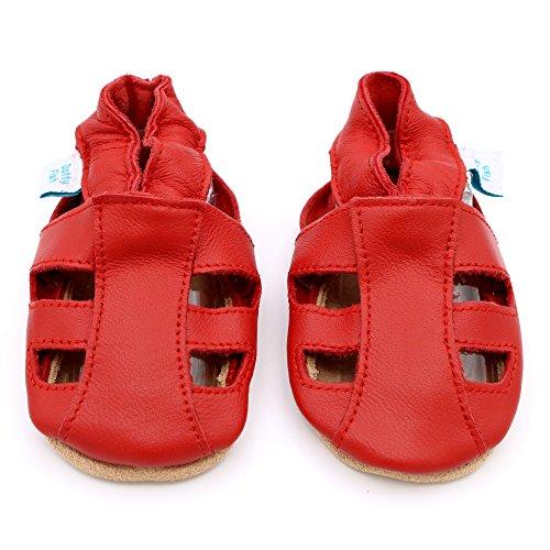 Dotty Fish - Zapatos de cuero suave para bebés - Sandalias para niños y niñas - Recién nacidos a 3-4 Años Rojo