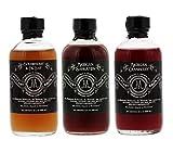 McClary Bros- 3 Bottle Drinking Vinegar Sampler: One 4oz bottle of Strawberry Fig Leaf, One 4oz bottle of Michigan Saskatoon and One 4oz bottle of Michigan Cranberry