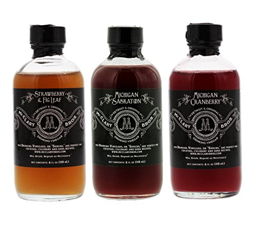 McClary Bros- 3 Bottle Drinking Vinegar Sampler: One 4oz bottle of Strawberry Fig Leaf, One 4oz bottle of Michigan Saskatoon and One 4oz bottle of Michigan Cranberry by McClary Bros.