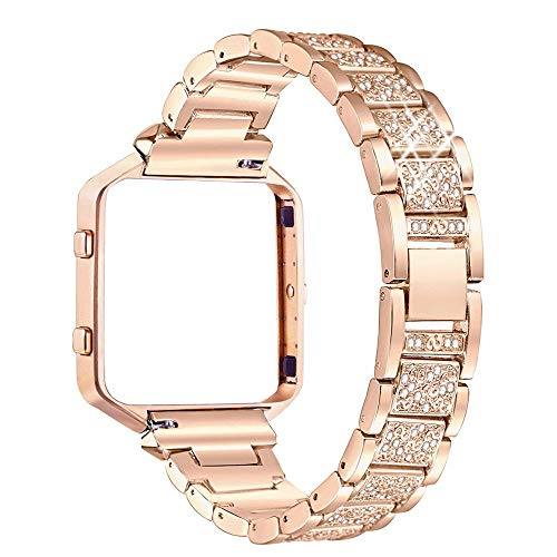 - Compatible with Fitbit Blaze Metal Bling Band, Rhinestone Metal Wristband Replacement Fitbit Blaze Bands Strap with Frame Women Girls Bracelet (Rose Gold)