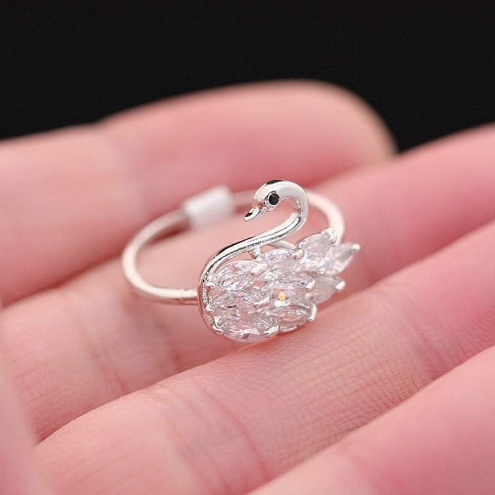 WWLZ Little Swan Crystal Diamond Zircon Anillo Femenino Fino Anillo de Diamantes Anillo Anillo Femenino Conjunto