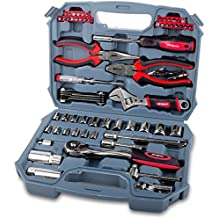 "Hi-Spec 67 Piece Auto Mechanics Tool Set with Professional 3/8"" Quick Release Offset Ratchet with 72 Teeth, 4-19mm Metric Sockets Set, T-Bar, Extension Bar, Hand Tools & Screw Bits in Storage Case"
