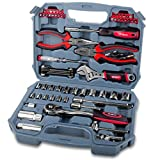 Hi-Spec 67pc Auto Mechanics Tool Kit including Professional 3/8'' Quick Release Ratchet Handle with 72 Teeth, Most Reached for SAE Sockets & Home and Garage Hand Tools Set in Durable Storage Case