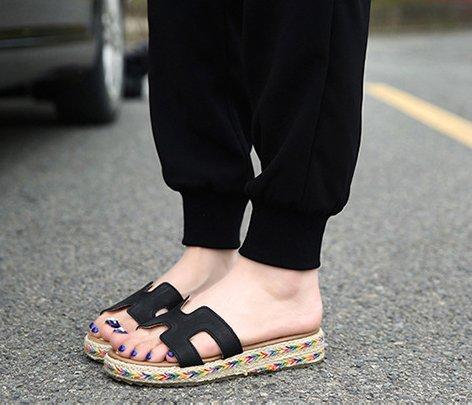 H&W Mujer Cuero Real H Estilo Planas Sandalias Mules Zapatillas Gum Goma Soles Negro