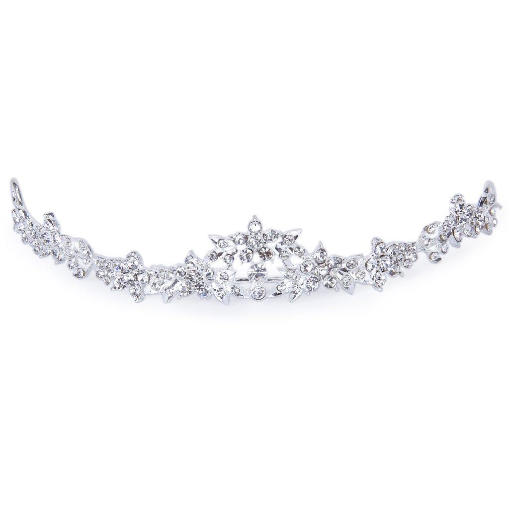 Amazon rhinestone crystal flower bridal crown headband veil amazon rhinestone crystal flower bridal crown headband veil tiara wedding prom new by generic beauty izmirmasajfo Image collections