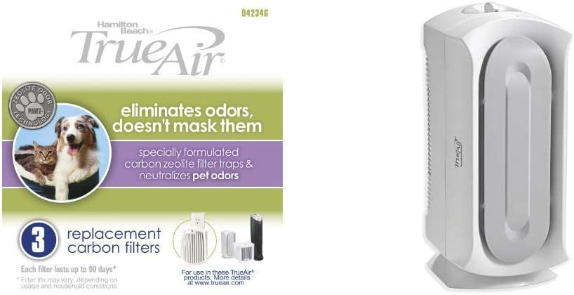 Hamilton Beach TrueAir Replacement Carbon Filter, 3-Pack (04234G) & Air Purifier with Permanent True HEPA Filter for Allergies and Pets, Odor Eliminator, Ultra Quiet, 3 Filtration Stages,White(04384)