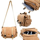Tan-Brown Large Sized Canvas Carry Bag for Sony Cybershot HX60 - by DURAGADGET