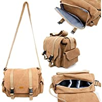 Tan-Brown Large Sized Canvas Carry Bag for HAMSWAN F68 - by DURAGADGET