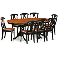 East West Furniture PLKE9-BCH-LC 9 Piece Dining Table with 8 Solid Wood Chairs Set